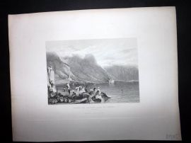 After Prout 1846 Antique Print. Castle of Chillon, Lake of Geneva, Switzerland